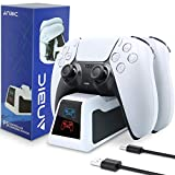 ANBIC PS5 Controller Charger,Wireless Fast Charging Station Dock with LED Indicator for Sony Playstation 5 Dualsense,White