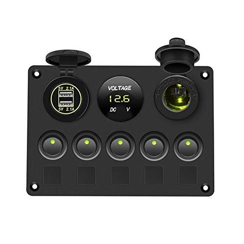 Ymhan Interruptor Interruptor Barco Panel Panel del Coche a Prueba de Agua voltímetro Digital USB de Doble combinación de Puerto de Salida de 12V LED Marinas Rocker 5 Gang