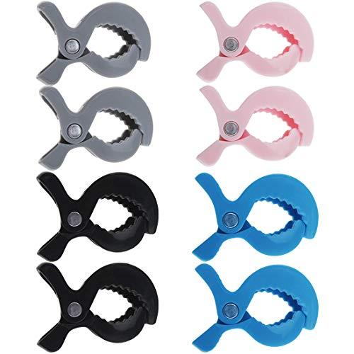 Pinzas para Cochecito de Bebe - YUESEN 8 Ud Ganchos para Cochecito Universal, Clip de Cochecito para Sujetar Muselina, clips para cubierta de asiento de coche, Negro, gris, rosa, azul