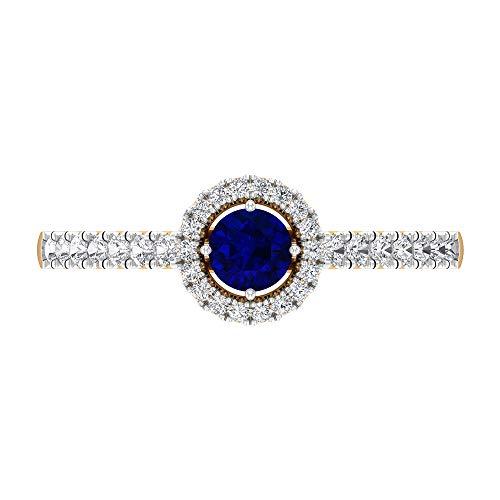 Anillo de compromiso halo con diamantes y zafiros azules, anillo solitario con piedra lateral (5 mm zafiro azul), 14K Oro amarillo, Size:EU 50