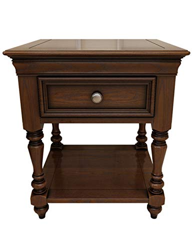 Cabinet en Bois de cru/Table Basse, Meubles en Bois de Chambre de Table de Chevet de chêne d'assemblage de Chambre à Coucher en Bois Solide Couleur de Noix Noire