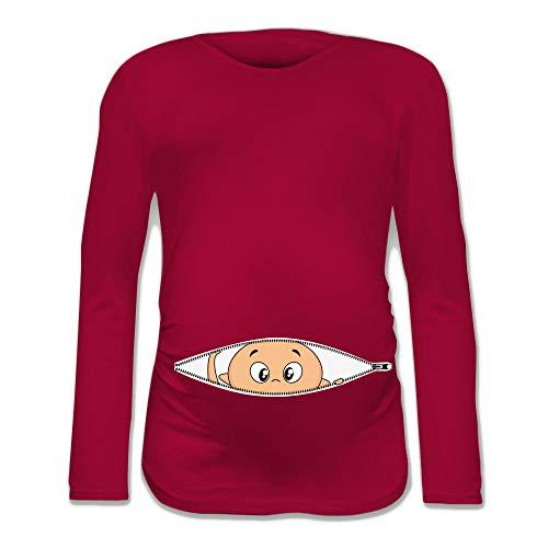 T Shirt Maglia Premaman Bimbo Che Esce dalla Zip Fucsia M Manica Lunga