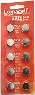 LOOPACELL AG12 LR43 386 SR43 1.5V Alkaline Button Cell Watch Batteries 10 Pack