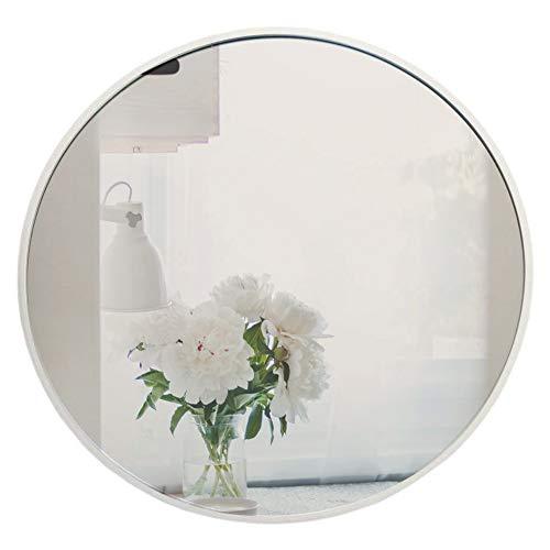 Muzilife Runder Spiegel 60cm mit Silber Metallrahmen Glas Wandspiegel mit Halterung zum Aufhängen in Wohn- und Badezimmer