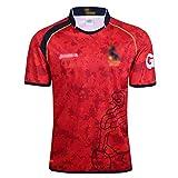 HYQ Solicitador de Rugby, 2017 España Camisetas de Entrenamiento de Manga Corta para Hombre, Camiseta de Cuello Redondo de la tripulación Deportiva Transpirable,Rojo,L
