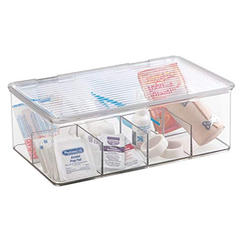 mDesign Plastic First Aid Kit Storage Box with Clear Top Lid for Bathroom, Kitchen, Cabinet, Closet, Drawer - Organizes Medicine, Ointments, Adhesive Bandages, Dental, 8 Divided Sections - Clear