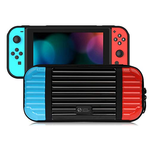 LEYUS Carry Case for Nintendo Switch, Hard Shell Protective Case with Card Slot, Storage Travel Bag for Switch Game (Blue&Red)