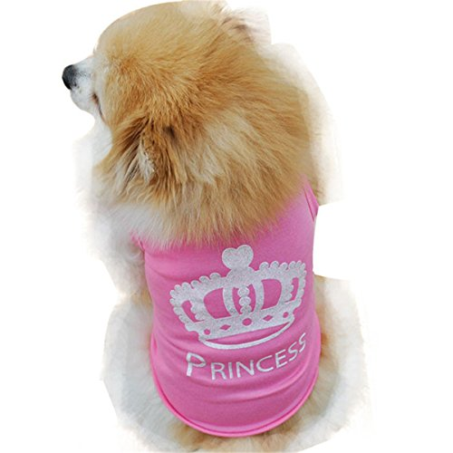 Smniao Sommer Baumwolle Haustier Hund Kleidung Princess Weste T-Shirt Hemd Kostüme für Kleine Hund Welpen Katze (XS, Rosa)