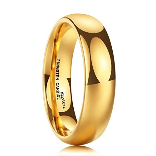 King Will Glory 6mm 24k Gold Plated High Polished Comfort Fit Domed Tungsten Ring Wedding Band 7.5