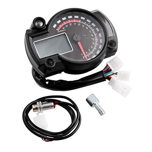 Universal Moto Tacómetro 15000 Rpm Odómetro Digital LCD Velocímetro Indicador De Velocidad Indicador De Marcha Sensor De Velocidad Para La Mayoría De Las Motocicletas