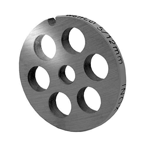 WolfCut INOX Lochscheibe Gr.5-12,0 mm Bohrungen – passend für alle gängigen Fleischwölfe Größe 5 – z.B.: Bosch MUM4/MUM5 - Alexanderwerk Größe 5 – Jupiter Größe 5 und viele mehr.
