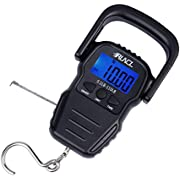 """RUNCL Digital Fishing Scale, Portable Luggage Scale, Weight Scale 110lb/50kgs - LCD Display, Data Lock Function, Auto-Off, 63"""" Built-in Measuring Tape, Nickel Plated Hook - Fish Scale, Hanging Scale"""