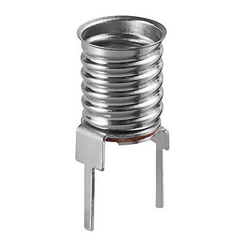 5 Stück E10 Lampenfassung, Sockel; Metallausführung; für vertikale Printmontage; mit 2 Print-Pins; max. 10 W, 24 V (DC). Für Glüh- und LED-Lampen