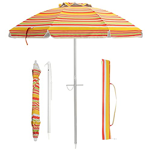 COSTWAY 200cm Sonnenschirm Strandschirm Marktschirm Gartenschirm neigbar Alu Terrassenschirm mit Tragetasche für Garten, Strand, Outdoor (Orange)