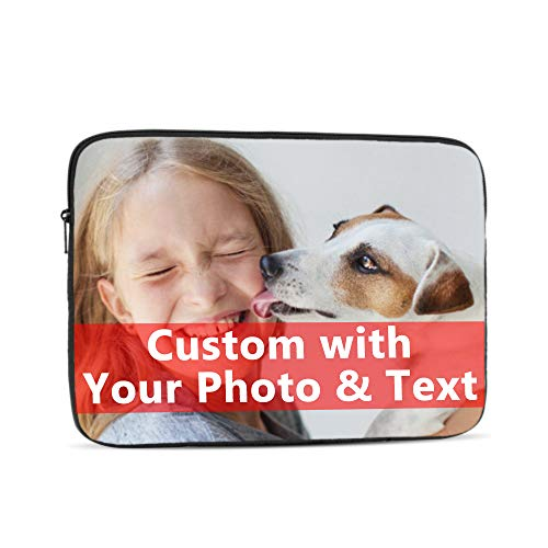 Personalised Laptop Sleeve Custom Notebook Protective Bag Carrying Case Tablet Sleeve with Your Picture Logo Text Compatible with MacBook iPad Gift for Family Friends Birthday Mother's Day (15 inch)