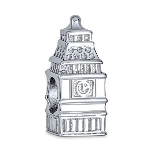 London Uhr Turm big Ben Urlaub Reise Charme Perle für Frauen für Teen 925 Sterling Silber passt europäische Armband