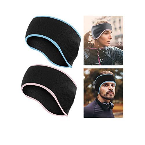 LATTCURE Stirnbänder Sport Ohrenwärmer Dehnbar, 2pcs Winter Stirnband für Damen,Herren,Mädchen,Thermal Schweißband Stirnband Anti Rutsch Rutsch für Jogging Skifahren außerhalb des Sports (Aa-Schwarz)