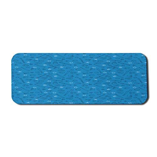 Sport-Computer-Mauspad, sich wiederholende Baseball-Symbole Handschuhe Fledermäuse Blautöne Muster, Rechteck rutschfestes Gummi-Mauspad Großes azurblaues Anthrazit