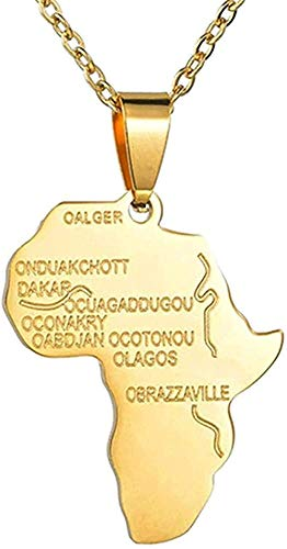 ZGYFJCH Co.,ltd Necklace Woman Necklace Hip Hop Africa Map Pendant Necklace Charm Stainless Steel Ethiopian Jewelry Necklace Women Men Party Gift