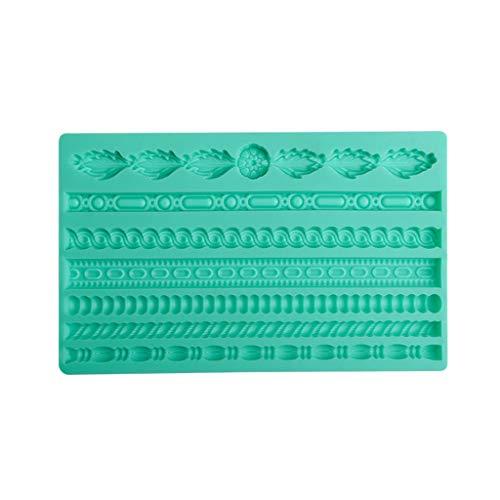 JERKKY Moldes para Pasteles, Cuerda Tejida en 3D Concha de Perlas de Silicona Molde de Masa frita Molde para Fondant Moldes para decoración de Bordes Moldes para glaseado de azúcar