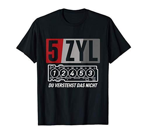 5 Zylinder Motor KFZ Auto Schrauber Tuning T-Shirt
