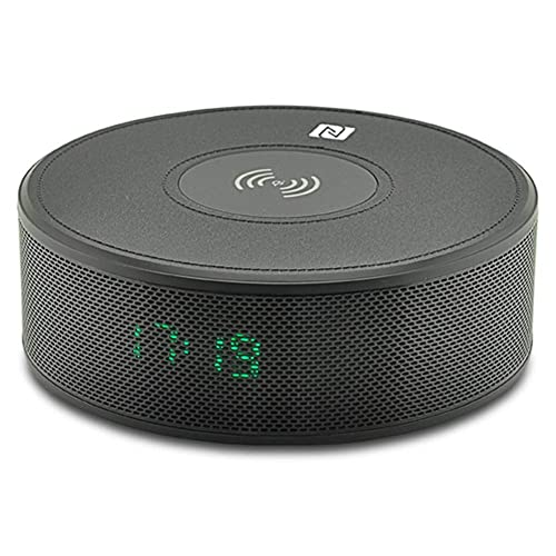 XXSHN Altavoz Bluetooth Cargador Inalámbrico Boombox Portátil Altavoz Inalámbrico Subwoofers con Despertador NFC Led Aux TF Entrada USB para El Hogar Al Aire Libre Altavoces Portátiles Docks