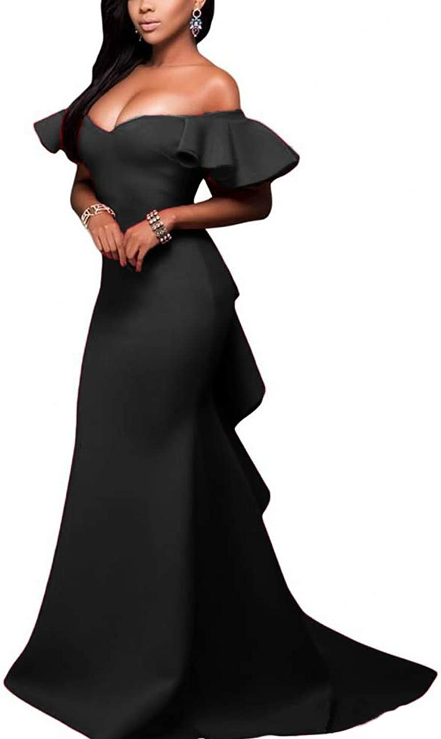 FJMM Womens Off The Shoulder Mermaid Evening Dresses Flouncing Sexy Backless Prom Gowns for Party