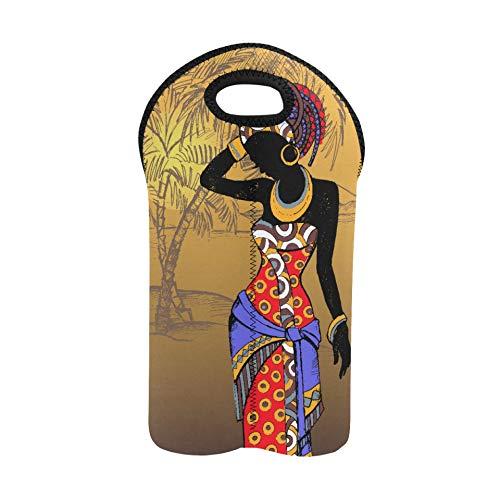 Weinbeutel Schöne schwarze Frau afrikanischen Wein Geschenkbeutel 2 Flaschen Doppelflaschenträger Wein Geschenkbeutel für Weinflaschen Dicker Neopren Weinflaschenhalter hält Flasch