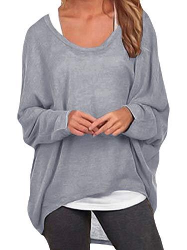 ZANZEA Damen Lose Asymmetrisch Jumper Sweatshirt Pullover Bluse Oberteile Oversize Tops Grau EU 52/Etikettgröße 4XL