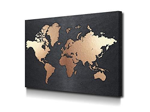 Foto Canvas Schilderijen Wereldkaart | Decoratieve Canvases - Wanddecoratie - Woonkamer Schilderijen | 60 x 45 cm Klaar Om Op Te Hangen Voor Woonkamer Inrichting - Slaapkamer Decoratie