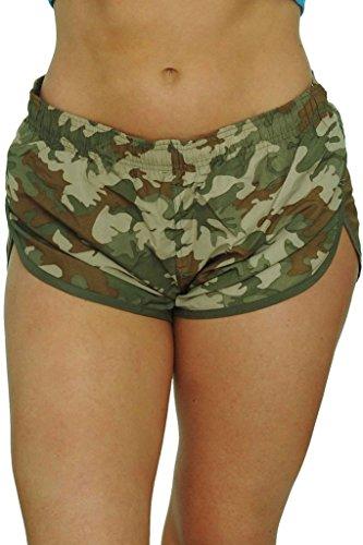 UZZI Women's Camo Basic Running Shorts Swimwear Trunks Olive (Medium)