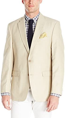 Tommy Hilfiger Men's Tan Cotton-Linen Hopsack Blazer