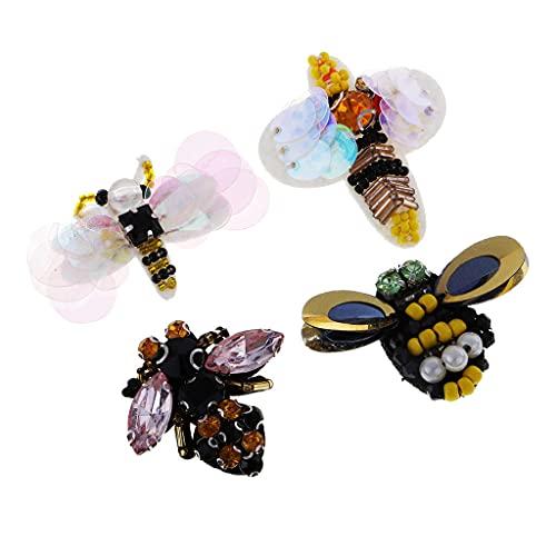 SM SunniMix 4 PCS/Set Bee LIRGONFLY LECTINES Rhinestone Beads Applique Costura Parche - 4 Piezas Abejas, 3-7cm