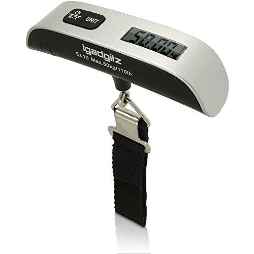 igadgitz Xtra U3185 50kg / 50g Digitale Portatili LCD Pesa Bilancia Scala Bagagli Valigia con Termometro + Batteria