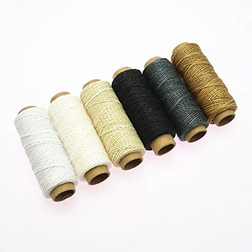 Buy NOLOGO HHTC 6pcs/Set 50meters 150D Woven 1mm Flat Wax Thread for DIY Leather Hand-Stitching Sewi...