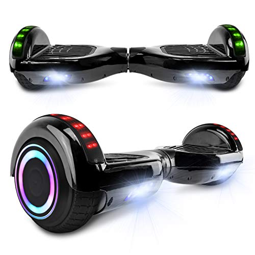 cho Electric Hoverboard Smart Self Balancing Scooter Hover Board Built-in Speaker LED Wheels Side Lights for Kids- Safety Certified (Solid Black)