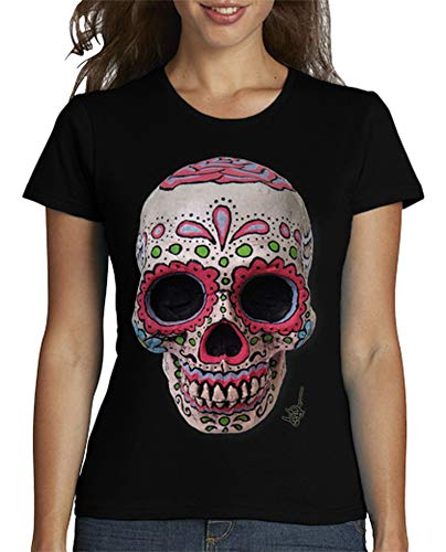latostadora - Camiseta Calavera Mexicana Real para Mujer Negro M
