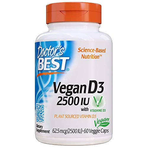 Doctor's Best Vitamin D3 2500IU with Vitashine D3, Non-GMO, Vegan, Gluten Free, Soy Free, Regulates Immune Function, Supports Healthy Bones, 60 Veggie Caps