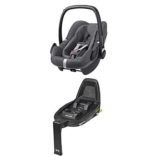 Maxi-Cosi Pebble Plus i-Size Babyschale + Maxi-Cosi FamilyFix 2 ISOFIX Basis, Gruppe 0+ Autositz für Babys, nutzbar ab der Geburt bis ca. 12 Monate (0-13 kg / 45-75 cm), Sparkling Grey, grau