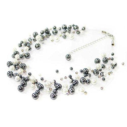 N&B Perlen-Collier edle Damen-Halskette 3510 Perlenkette viele Modelle (schwarz-Weiss)