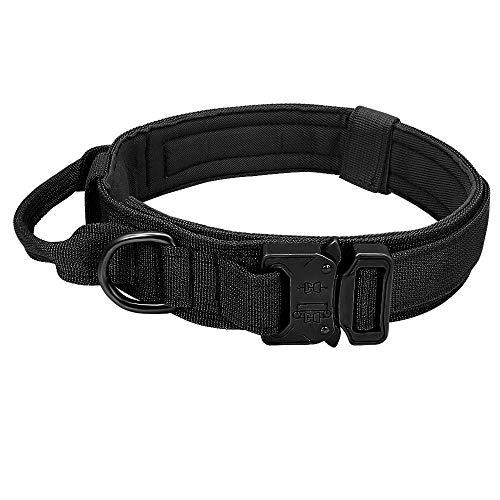Hundehalsband Verstellbare Taktische Haustiere Hundehalsbänder Leinensteuerung Griff Training Haustier Katze Mittelgroß-Schwarz_XL (51-61 cm)