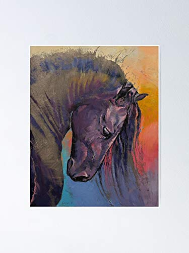"""MCTEL Friesian Horse Poster 12.75\"""" X 17\"""" Inch No Frame Board for Office Decor, Best Gift Dad Mom Grandmother and Your Friends"""