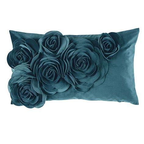 pad - Kissenhülle - Kissen - Kissenbezug - FLORAL - Aqua/blau - Polyester - 30 x 50 cm