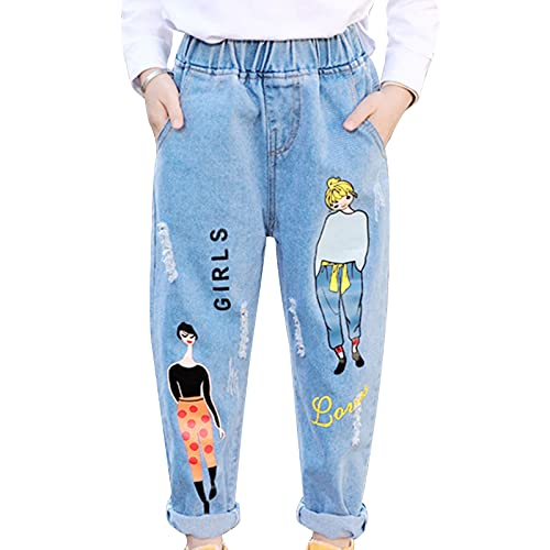 FEESHOW Mädchen Mode Loch Jeanshosen High Waist Stretch Ripped Jeans Straight Jeanshose Denim Pants Skinny Casual Hip Hop Tanz Hose Streetwear Blaues Graffiti_A 152-164