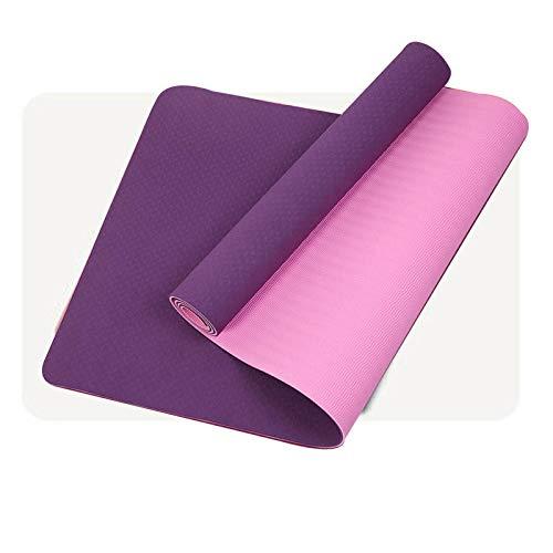 JJHG Esterillas de yoga, multifuncionales para principiantes, esteras antideslizantes sin sabor para principiantes, 8/6 mm de apoyo de tablones de color morado y morado claro