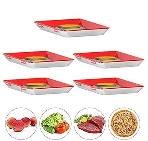 Amini Frischhaltebox Frischhaltedosen für Wurst Creative Food Preservation Tray Vakuum Frische Aufbewahrung Tablett Mit Elastischen Film Schnalle Dichtung Vorratsbehälter Set Küchenhelfer (5pcs)
