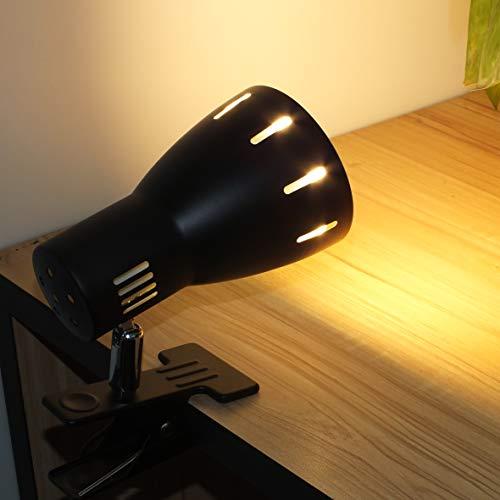 Aiwode(黒い器具+電球色2700K、1セット)LEDクリップデスクライト、(電球付属)11W LED電球 E26口金 LEDレフランプ100形相当、強力クランプ付きヘッドボードライト、ベッドリーディングライト、タッチベッドサイドランプ、ポータブルデス