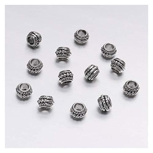 WEIYUE Lote de 30 cuentas espaciadoras sueltas bañadas en oro antiguo de 8 mm para hacer joyas y pulseras vintage (color: plata envejecida)