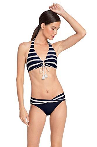 Robin Piccone Women's Abi Striped Halter Bikini Top Indigo/Ecru S