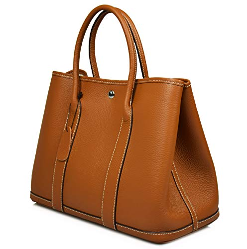 ESYUEL Women's Genuine Leather Garden Tote Bag Top Handle Handbags(36CM)(Light Brown)